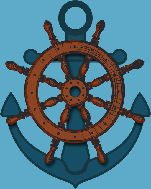 This is a photo of an Anchor in a teal background