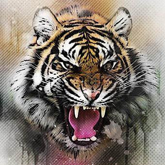 This is a photo of  an angry tiger painting