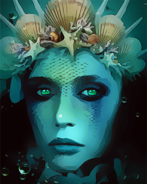 This is a photo of a woman that looks like a siren with a turquoise colored skin and wearing a crown made of clam shells and starfish