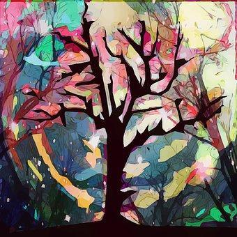 Autumn Tree Art - Shimmer Stitch