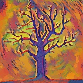 This is a drawing of a branchless tree with the colors of autumn maple leaves abstract as background.