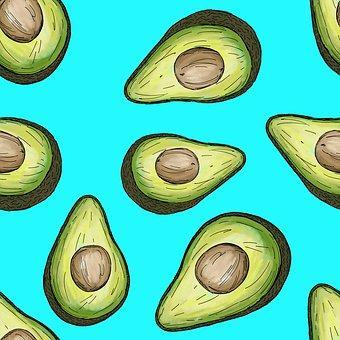 This is an art photo of Avocado halves in teal background.