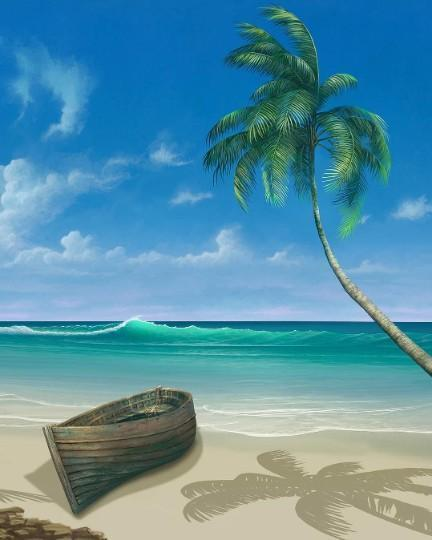 This is a photo of a boat in the beach, with coconut tree on the side.