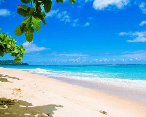 This is a photo of a beach in a bright sunny day with bright blue colors in the sky and sea.