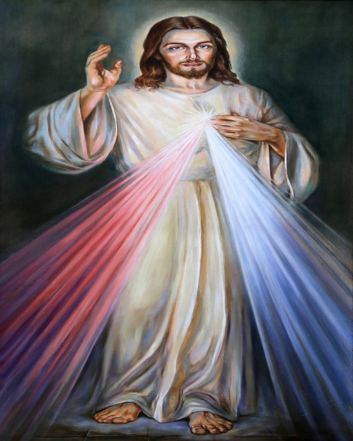 This is a photo of Jesus in Divine Mercy 3 o'clock habbit.