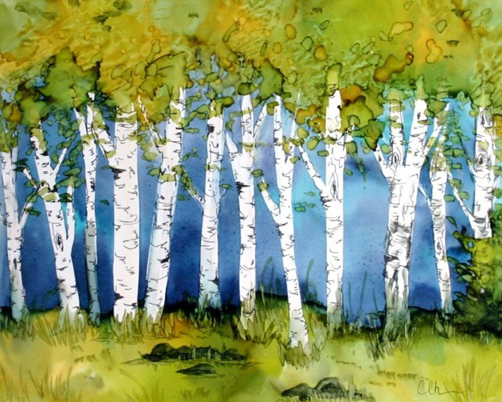 This is a painted photo of a birch forest