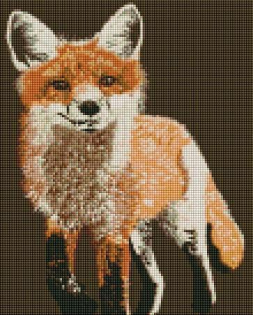 This is a photo of brown fox picture in a diamond painting canvas.