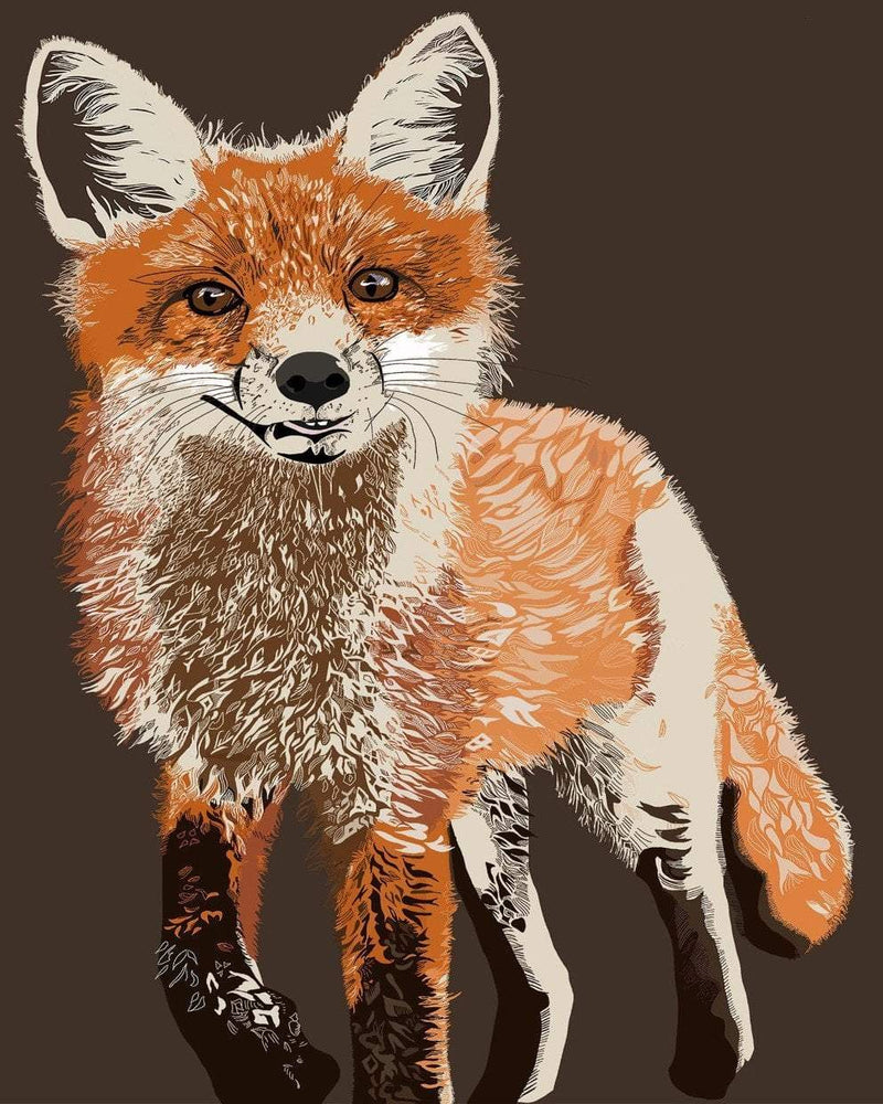 This is a photo of a brown fox drawing in brown background.