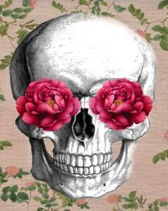 This is a  photo of a skull with carnations on its eyes
