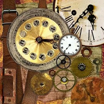 This is a photo of old clocks and a golden gears with a brown leather strap behind