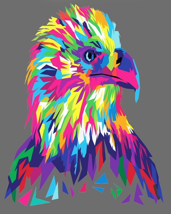 This is a photo of colorful Eagle head mosaic style drawing.