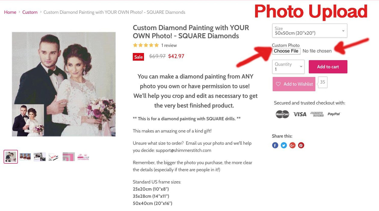 Custom Diamond Painting with YOUR OWN Photo! - SQUARE Diamonds - Shimmer Stitch