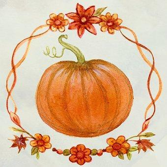 This is a photo of an orange pumpkin drawing decorated with orange flowers in white background.