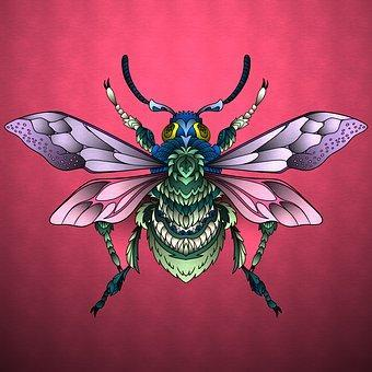 This is a photo of a bee with its wings open on a red background