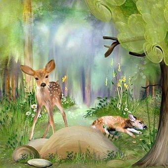 This is a photo of 2 fawns in the forest