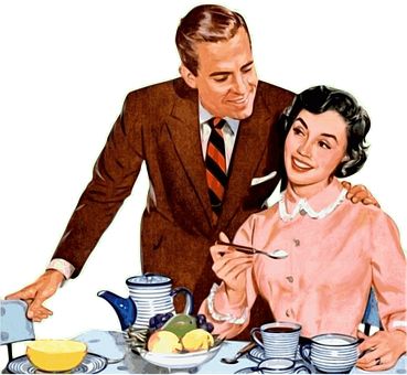 This is a photo of a vintage couple tea time art.