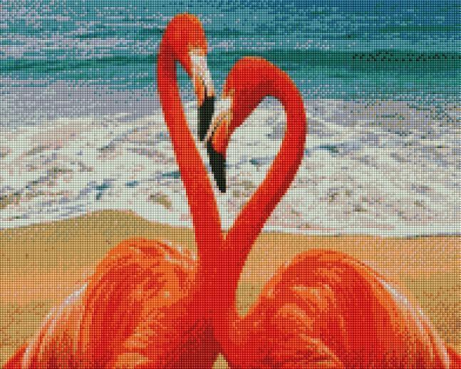 This is a photo of flamingo love pic in a diamond painting canvas.