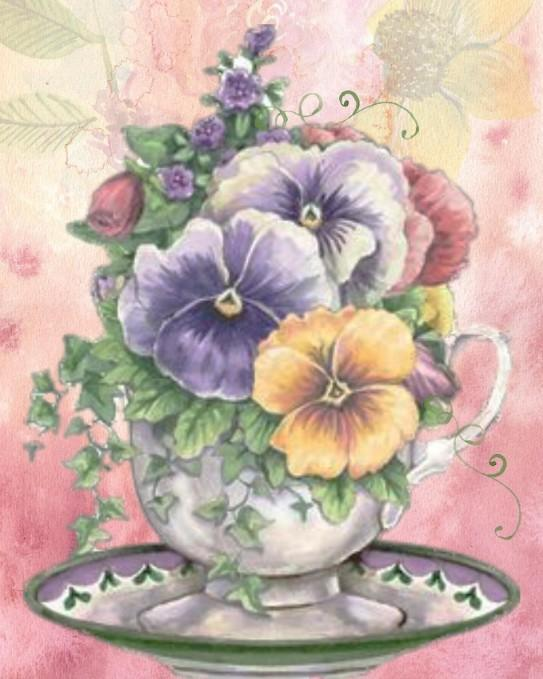 Floral Tea Cup - Shimmer Stitch