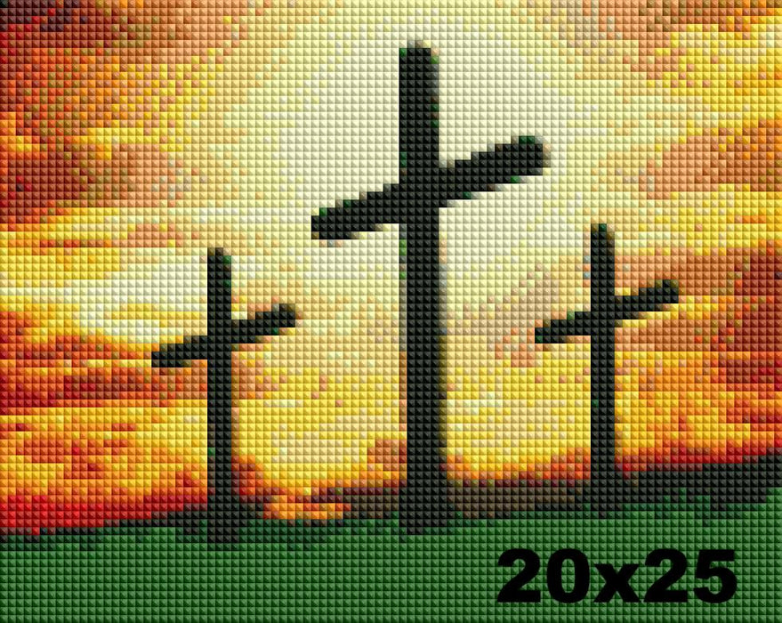 FREE Diamond Painting Kit: Golgotha Crosses - Shimmer Stitch
