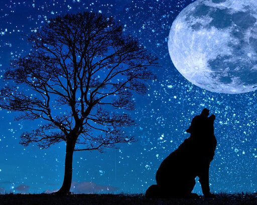 This a photo of a silhouette of a wolf howling in a bright night with huge moon and many stars in the sky