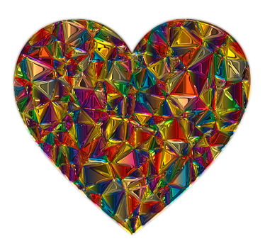 This is a photo of a colorful Glass Heart