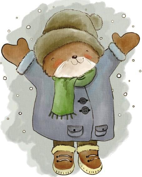 This is a photo of a drawing of a brown bear with a blue coat and a brown hat playing in the snow.