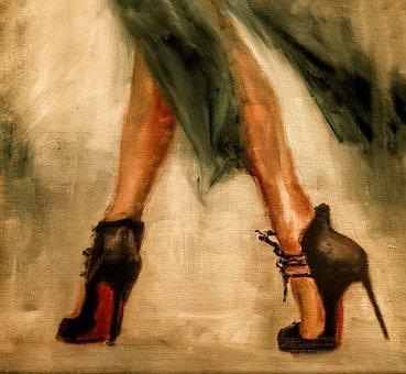 This is a photo of a painting of a feet of a lady in high heels.