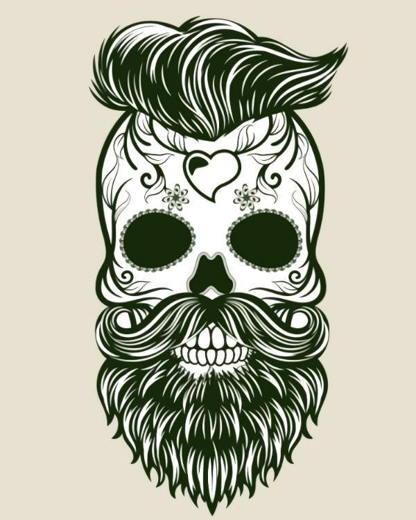 This is a photo of a vector of an skull with beard and hair with day of the dead design.