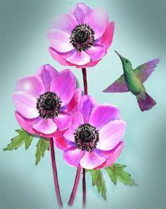 This is a photo of a green hummingbird and three pink flowers.