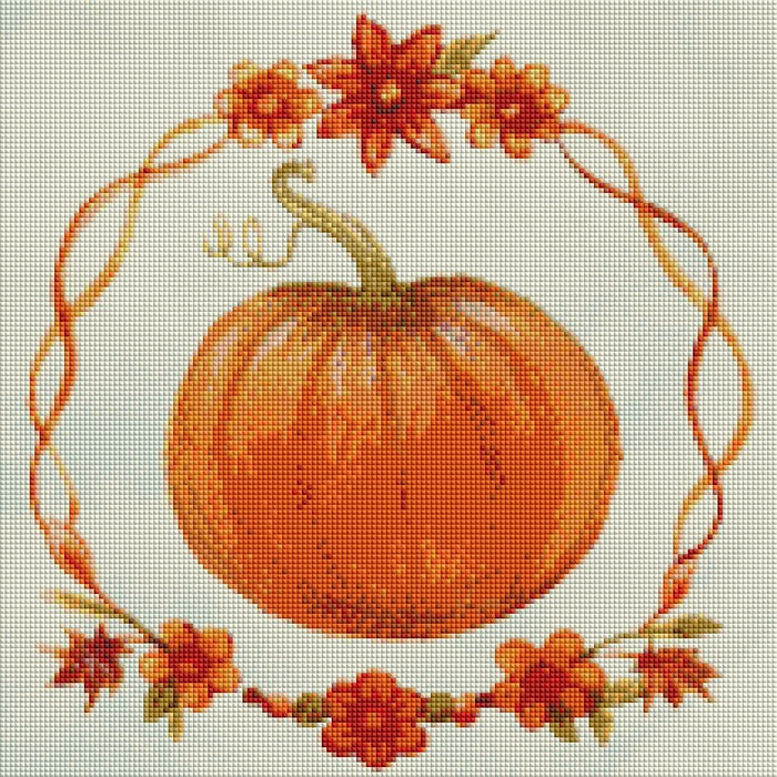 This is a photo of Decorative pumpkin in a diamond painting canvas.