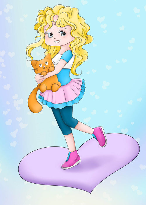 This is a photo of a cartoon girl with yellow hair holding an orange cat.