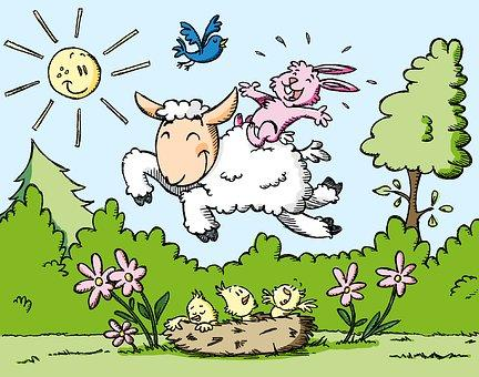 This is a photo of a pink rabbit riding a sheep hopping across a nest of birds with a blue bird playing with them