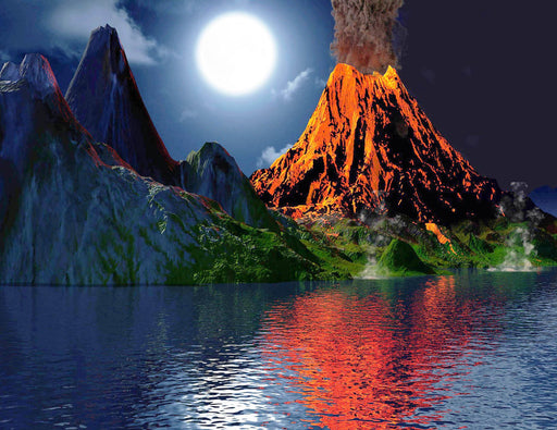 This is a photo of an erupting volcano near the river with a bright moon behind it