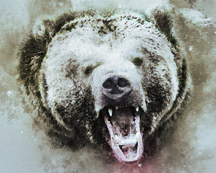 This a photo of an angry bear in black in white.
