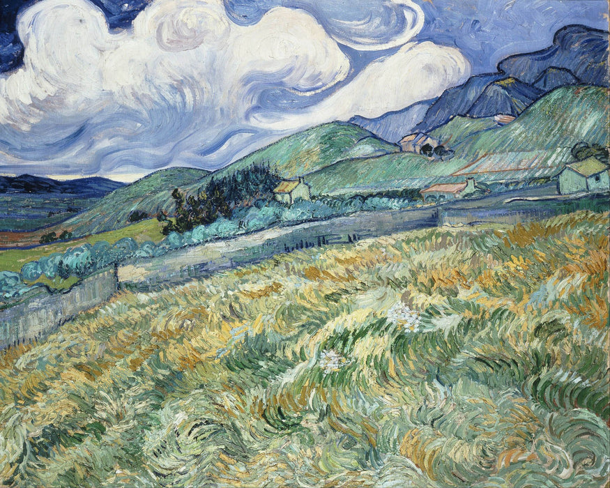 This is a photo of a painting of a cloudy field Van Gogh style.