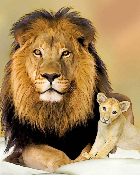 Dad & Baby Lion