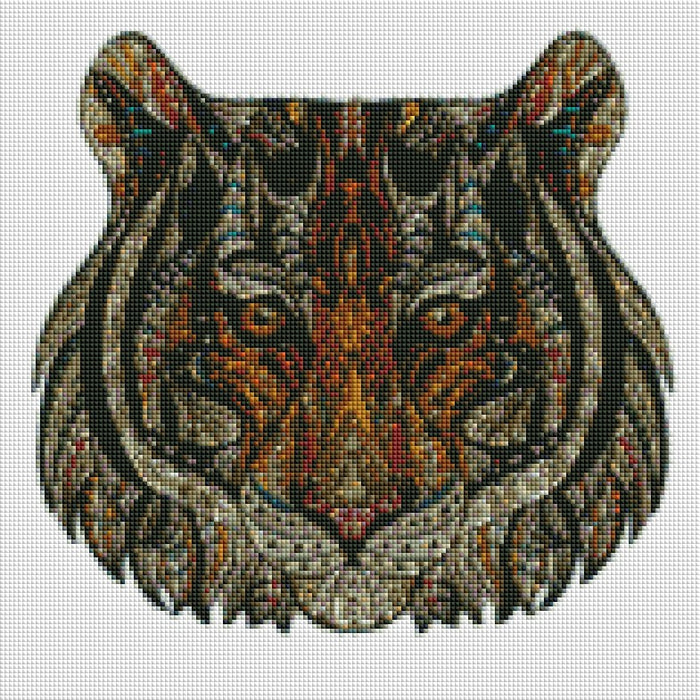Decorative Tiger Head - Shimmer Stitch