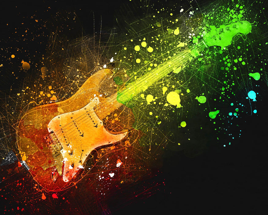 This is a photo art of an electric guitar with splashes on neon green, neon yellow and red orange paint.