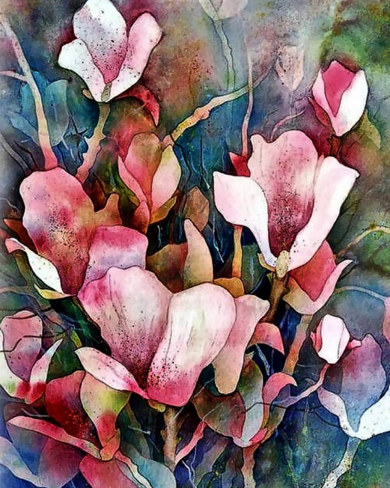 This is a photo of a watercolor painting of pink flowers.