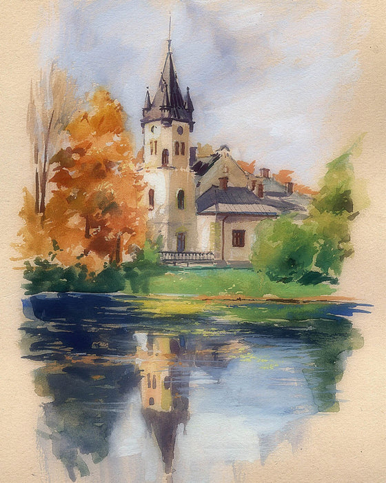 This is a photo of a Church painting, near the river