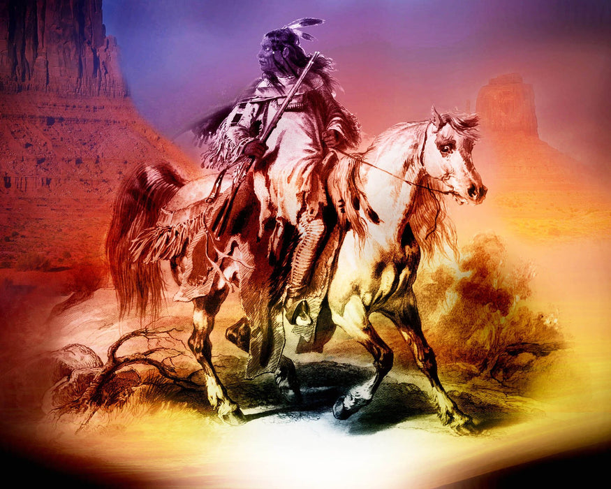 Native American on Horse Painting 2