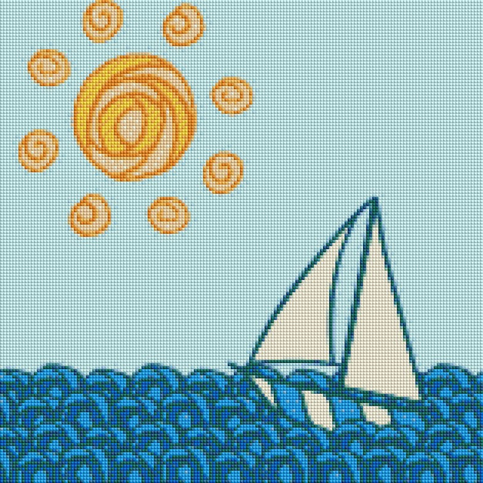 This is a photo of the cartoon Sail boat in a diamond painting canvas.