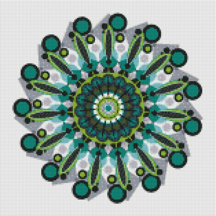 Green Circle Art - Shimmer Stitch