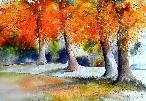 Watercolor Fall Trees Shimmer Stitch