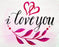 This is a photo of a text card saying I Love You with a pink hearts and leaves design.