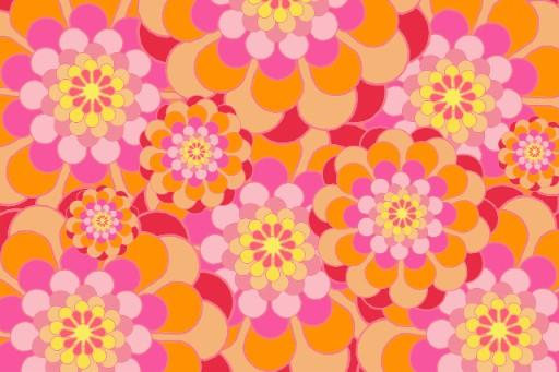 This is a photo of a digital art of a radial flowers with red, pink, white and orange petals