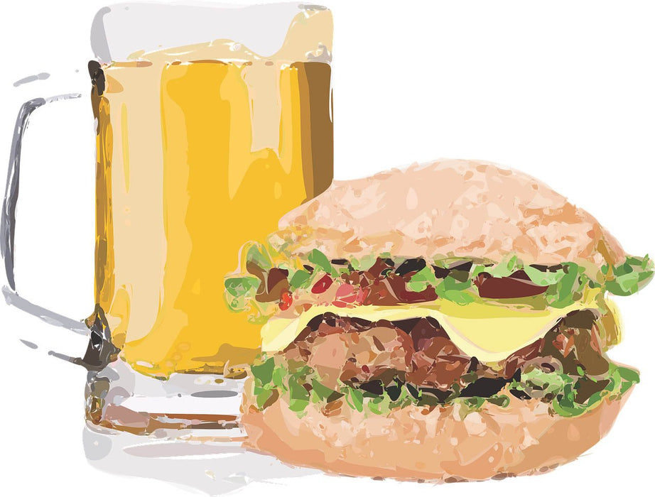 This is an artistic photo of a beer and a burger
