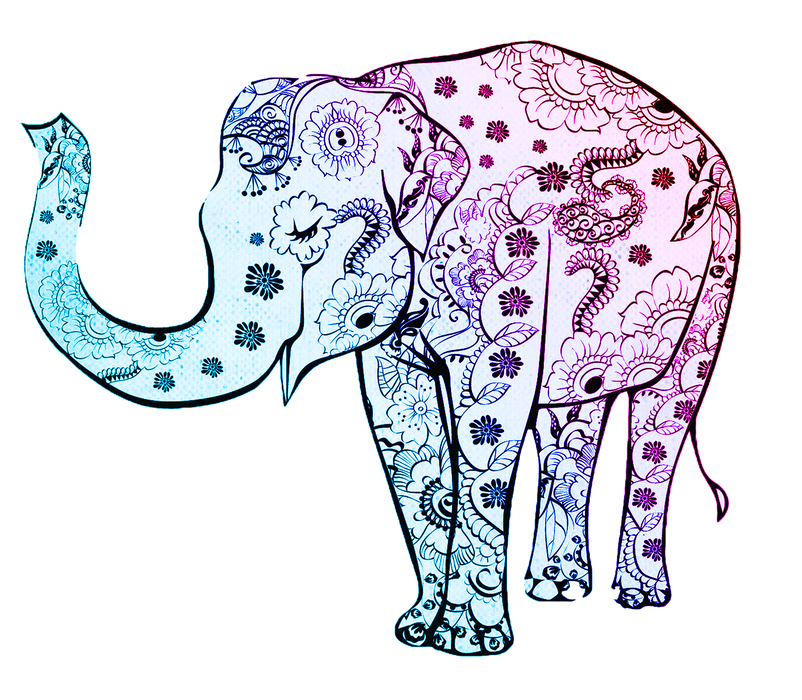 This is a photo of an elephant art with tattoo decorations.