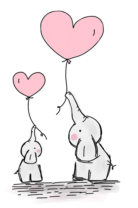 This is photo of a drawing of a two cute elephants holding a pink heart balloons on their trunks in a white canvass