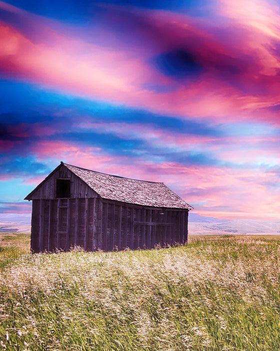 This is a photo of a barn in a green grass with a pink skies.